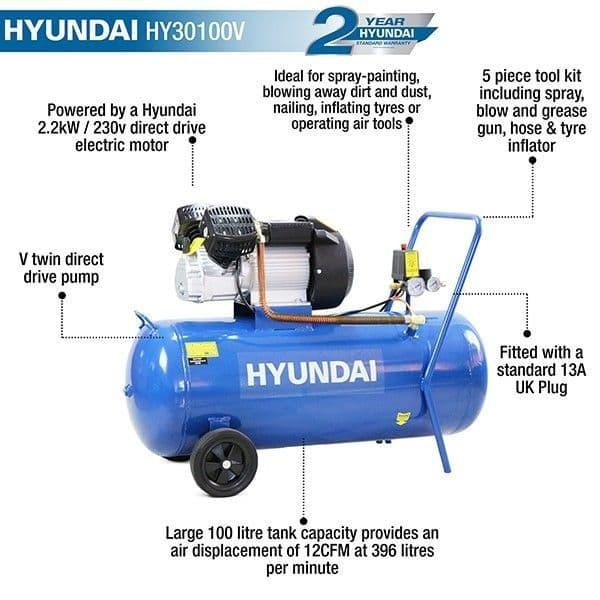 Hyundai HY30100V 14CFM/116psi Silenced V-TwinDirect DriveAir Compressor 100L 240V~50Hz